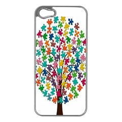 Tree Share Pieces Of The Puzzle Apple Iphone 5 Case (silver)