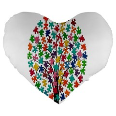 Tree Share Pieces Of The Puzzle Large 19  Premium Flano Heart Shape Cushions