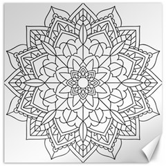 Floral Flower Mandala Decorative Canvas 16  X 16   by Simbadda