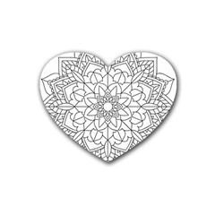 Floral Flower Mandala Decorative Heart Coaster (4 Pack)  by Simbadda