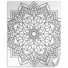 Floral Flower Mandala Decorative Canvas 11  X 14   by Simbadda