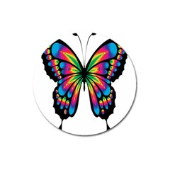 Abstract Animal Art Butterfly Magnet 3  (round)