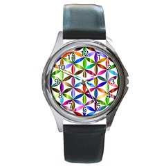 Flower Of Life Sacred Geometry Round Metal Watch by Simbadda