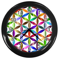 Flower Of Life Sacred Geometry Wall Clocks (black)