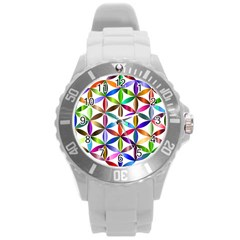 Flower Of Life Sacred Geometry Round Plastic Sport Watch (l) by Simbadda