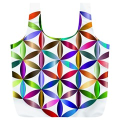 Flower Of Life Sacred Geometry Full Print Recycle Bags (l)  by Simbadda