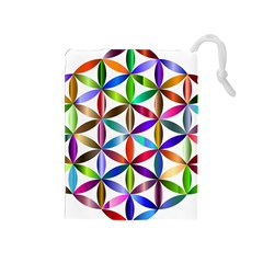 Flower Of Life Sacred Geometry Drawstring Pouches (medium)  by Simbadda