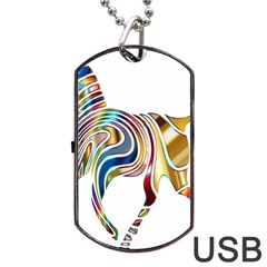 Horse Equine Psychedelic Abstract Dog Tag Usb Flash (two Sides) by Simbadda