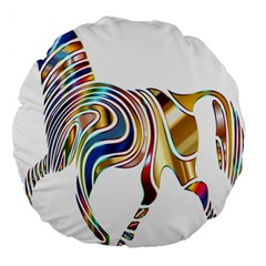 Horse Equine Psychedelic Abstract Large 18  Premium Round Cushions by Simbadda