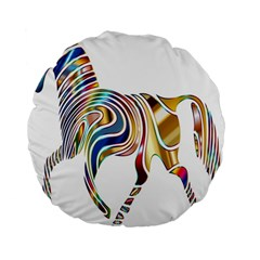 Horse Equine Psychedelic Abstract Standard 15  Premium Flano Round Cushions