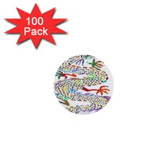 Dragon Asian Mythical Colorful 1  Mini Buttons (100 Pack)  by Simbadda