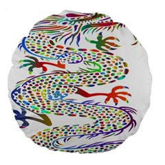 Dragon Asian Mythical Colorful Large 18  Premium Round Cushions