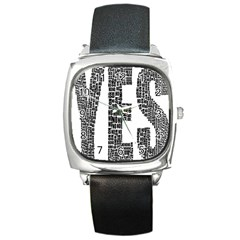 Yes No Typography Type Text Words Square Metal Watch
