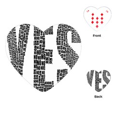 Yes No Typography Type Text Words Playing Cards (heart)  by Simbadda
