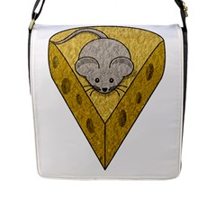 Cheese Rat Mouse Mice Food Cheesy Flap Messenger Bag (l)