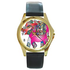 Elephant Pachyderm Animal Round Gold Metal Watch