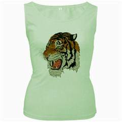 Tiger Tiger Png Lion Animal Women s Green Tank Top