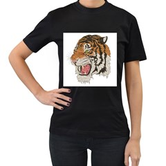 Tiger Tiger Png Lion Animal Women s T Shirt (black) (two Sided)