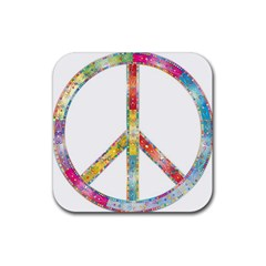Flourish Decorative Peace Sign Rubber Square Coaster (4 Pack)  by Simbadda