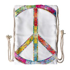 Flourish Decorative Peace Sign Drawstring Bag (large)