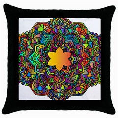 Mandala Floral Flower Abstract Throw Pillow Case (black)