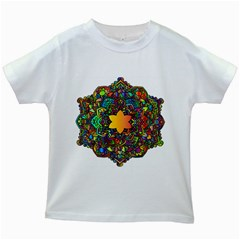 Mandala Floral Flower Abstract Kids White T Shirts