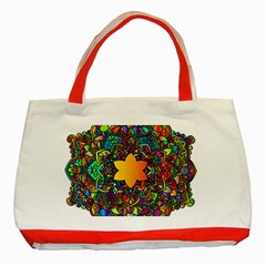 Mandala Floral Flower Abstract Classic Tote Bag (red)