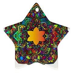Mandala Floral Flower Abstract Star Ornament (two Sides)