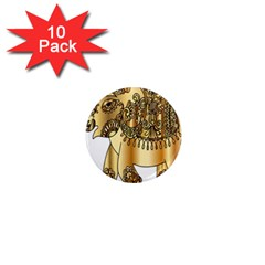 Gold Elephant Pachyderm 1  Mini Magnet (10 Pack)  by Simbadda