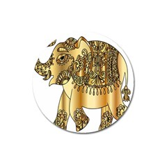 Gold Elephant Pachyderm Magnet 3  (round) by Simbadda