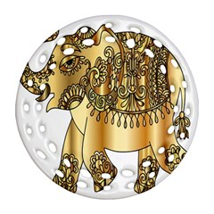 Gold Elephant Pachyderm Ornament (round Filigree) by Simbadda