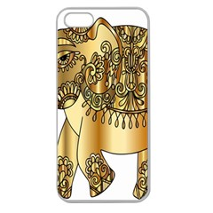 Gold Elephant Pachyderm Apple Seamless Iphone 5 Case (clear) by Simbadda