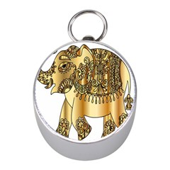 Gold Elephant Pachyderm Mini Silver Compasses