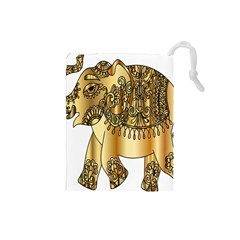 Gold Elephant Pachyderm Drawstring Pouches (small)
