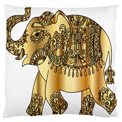 Gold Elephant Pachyderm Standard Flano Cushion Case (two Sides) by Simbadda