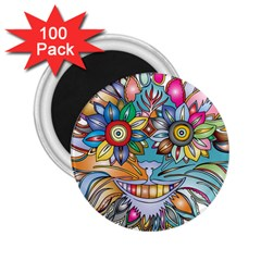 Anthropomorphic Flower Floral Plant 2 25  Magnets (100 Pack)