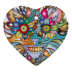 Anthropomorphic Flower Floral Plant Heart Ornament (two Sides)