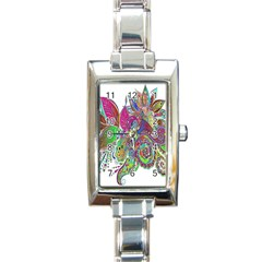 Floral Flowers Ornamental Rectangle Italian Charm Watch by Simbadda