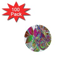 Floral Flowers Ornamental 1  Mini Buttons (100 Pack)