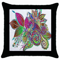 Floral Flowers Ornamental Throw Pillow Case (black) by Simbadda