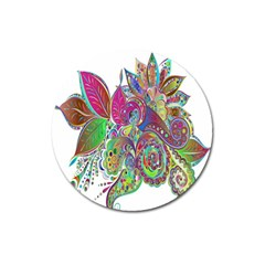 Floral Flowers Ornamental Magnet 3  (round)