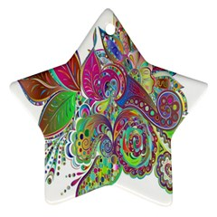 Floral Flowers Ornamental Star Ornament (two Sides) by Simbadda