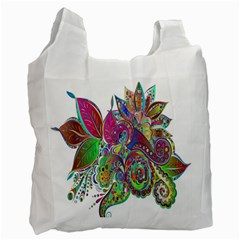 Floral Flowers Ornamental Recycle Bag (two Side)  by Simbadda