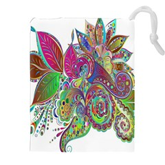 Floral Flowers Ornamental Drawstring Pouches (xxl)