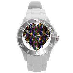 Heart Love Passion Abstract Art Round Plastic Sport Watch (l) by Simbadda