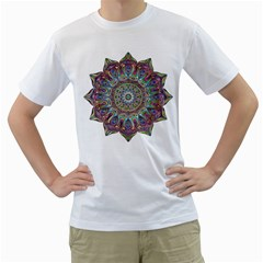 Mandala Decorative Ornamental Men s T Shirt (white) (two Sided)