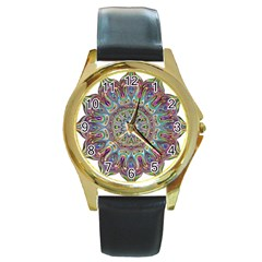 Mandala Decorative Ornamental Round Gold Metal Watch by Simbadda