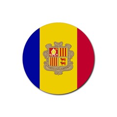 National Flag Of Andorra  Rubber Round Coaster (4 Pack)  by abbeyz71