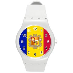 National Flag Of Andorra  Round Plastic Sport Watch (m) by abbeyz71