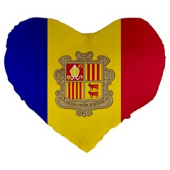 National Flag Of Andorra  Large 19  Premium Heart Shape Cushions by abbeyz71